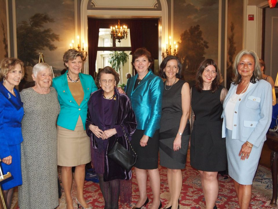 2013 Foremother Awards luncheon. From left: Connie Connie Morella, Mary Hager, Cokie Roberts, Lindy Boggs, Dr. Diana Zuckerman,Valerie Arkoosh, Tara Montgomery, & Dr. Vivian Pinn.